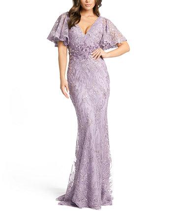 Платье с развевающимися рукавами MAC DUGGAL