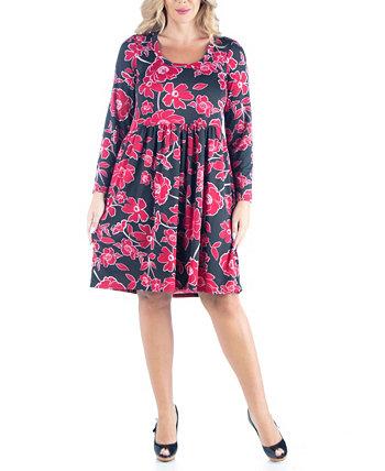 Женское плиссированное платье больших размеров с завышенной талией 24seven Comfort Apparel