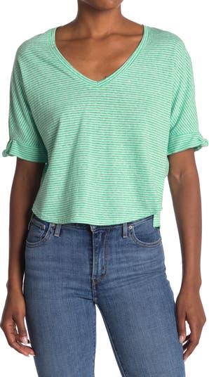 Укороченная футболка с полосками на рукавах и принтом Melrose and Market