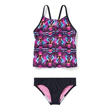 Girls 7-16 Speedo Print Tankini Two Piece Swimsuit Set Speedo