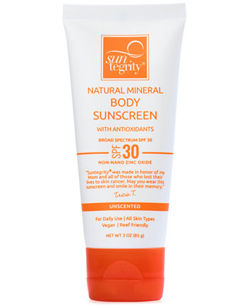 Broad Spectrum SPF 30 Натуральное минеральное солнцезащитное средство для тела, 3 унции Suntegrity