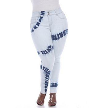 Plus Size White Mark Tie-Dye Skinny Jeans White Mark