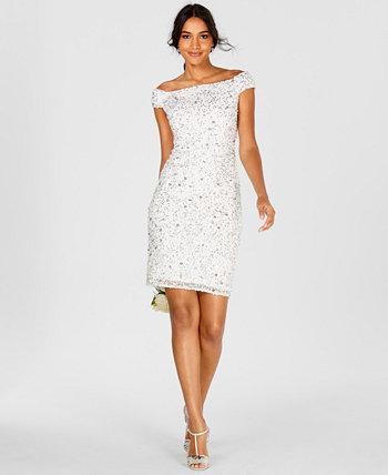 Платье-футляр с открытыми плечами и бисером Adrianna Papell