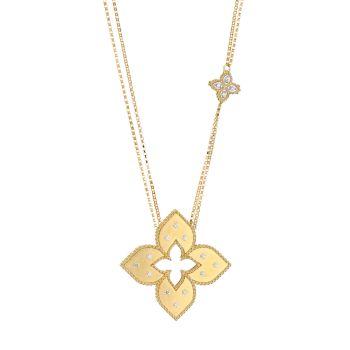 Венецианская принцесса из желтого золота 18 карат и усилителей; Ожерелье с двумя цепочками с бриллиантами Roberto Coin