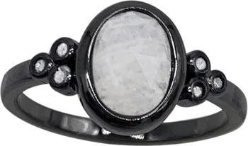 Серебряное кольцо с лунным камнем и бриллиантом ADORNIA