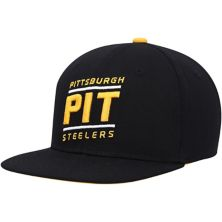 Youth Black Pittsburgh Steelers Team Code Adjustable Snapback Hat Outerstuff