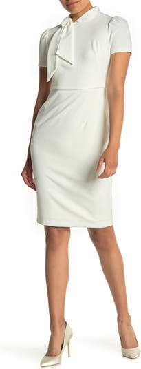Neck Tie Short Sleeve Sheath Dress Maggy London