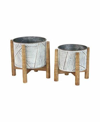Кашпо из прессованного олова с деревянными подставками, набор из 2 шт. KALALOU
