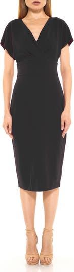 Naomi Drape Surplice Neck Sheath Dress ALEXIA ADMOR