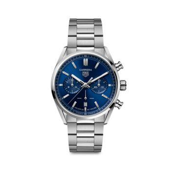 Часы Carrera Elegance 42 мм с браслетом из нержавеющей стали с автоматическим хронографом TAG Heuer