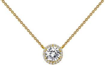 Ожерелье с подвеской в виде гало из стерлингового серебра с золотым покрытием и имитацией бриллианта LaFonn