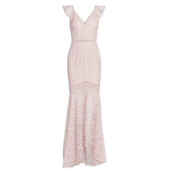 Lace V-Neck Gown ML Monique Lhuillier