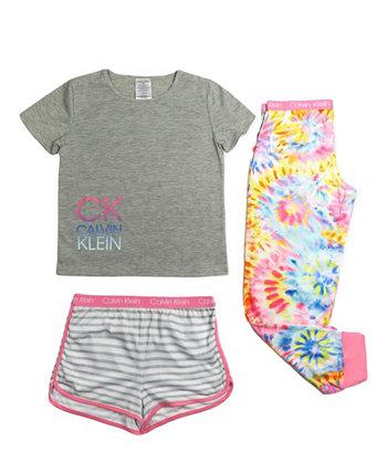 Пижамный комплект из 3 предметов для больших девочек Calvin Klein