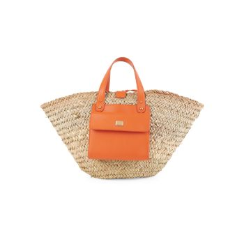 Соломенная сумка с короткими ручками Kendra с кожаной отделкой Dolce & Gabbana
