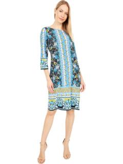 Платье прямого кроя из джерси в полоску с цветочным принтом London Times