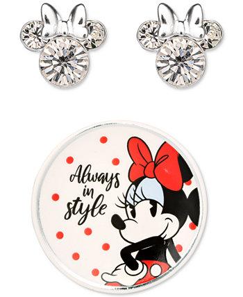 Прозрачная гвоздика Minnie Mouse из стерлингового серебра с кристаллами и дополнительным брелоком Disney