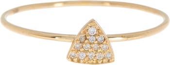 Кольцо из 18-каратного золота с миниатюрным треугольником и бриллиантом с паве - 0,04 карата Bony Levy