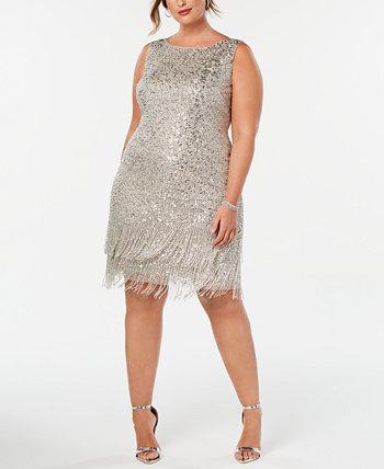 Платье большого размера с бахромой ручной работы Adrianna Papell
