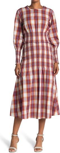 Платье миди со сборками и длинными рукавами Blanche в клетку Something Navy