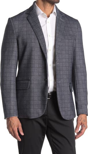 Серый приталенный пиджак с двумя пуговицами и лацканами в шотландскую клетку CONSTRUCT