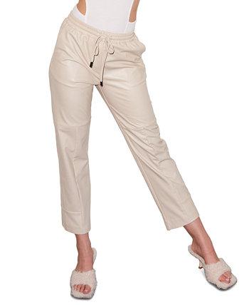 Укороченные брюки без застежки из искусственной кожи LNA