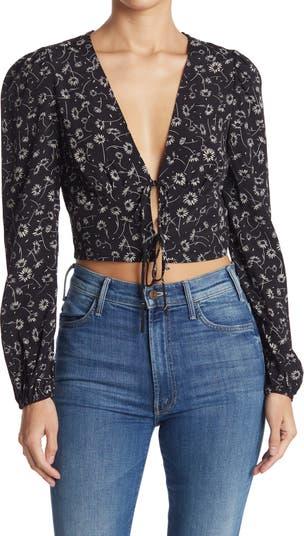 Укороченная блуза с цветочным принтом и завязками спереди Elodie