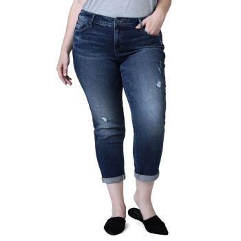 Укороченные джинсы-бойфренды со средней посадкой Slink Jeans, Plus Size