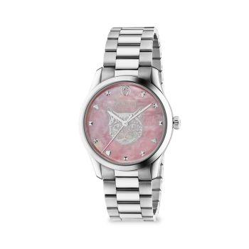 Часы G-Timeless из нержавеющей стали с тигровым циферблатом и браслетом GUCCI