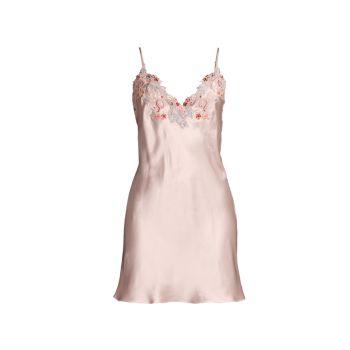 Кружевное атласное шелковое платье для сна Maison La Perla