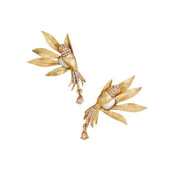 18K Yellow Goldplated Bird Drop Earrings Oscar de la Renta