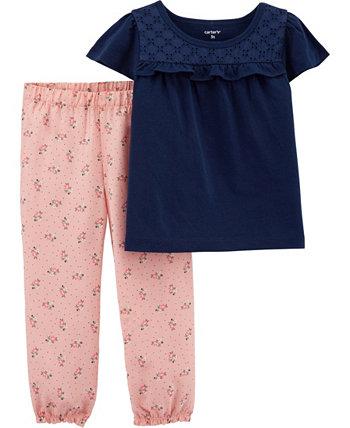 Кружевная футболка для маленьких девочек и штаны с цветочным рисунком Carter's