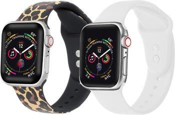 Сменный ремешок для Apple Watch с леопардовым / белым принтом - набор из 2 шт. POSH TECH