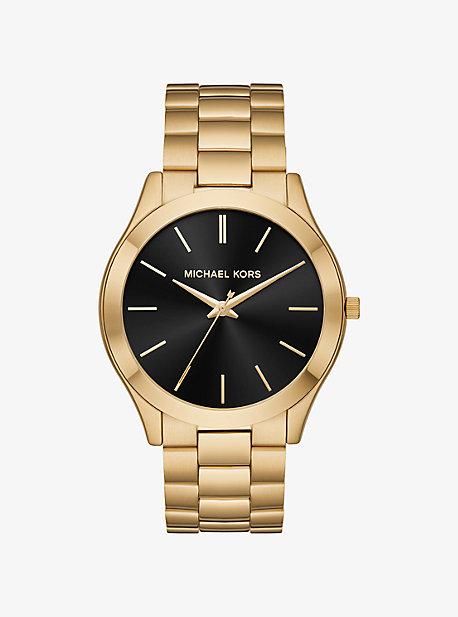 Крупные тонкие золотые часы Runway Michael Kors