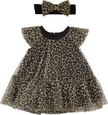 Трапециевидное платье и повязка на голову с леопардовым принтом Baby Starters