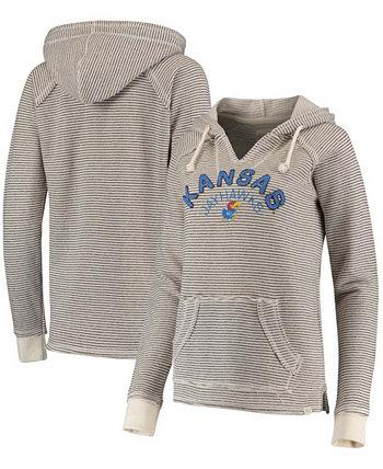 Женский кремовый пуловер с капюшоном Kansas Jayhawks в полоску из французского терри с v-образным вырезом Blue 84