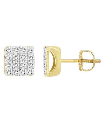 Мужские серьги с бриллиантами (3/4 карата) из желтого золота 10 карат Macy's