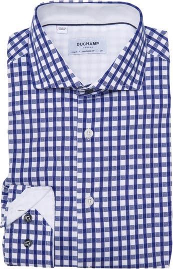 Тканая приталенная классическая рубашка в клетку DUCHAMP