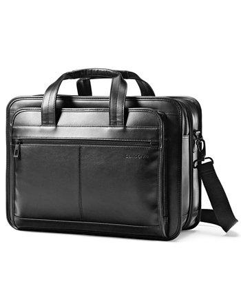 Кожаный расширяемый портфель для ноутбука Samsonite