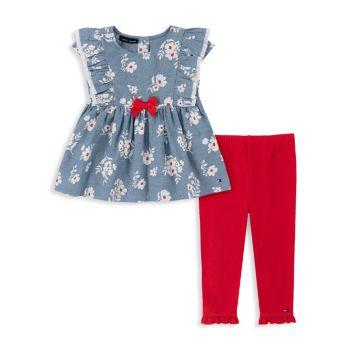 Комплект из двух частей хлопковой туники и леггинсов с цветочным рисунком для маленьких девочек Tommy Hilfiger