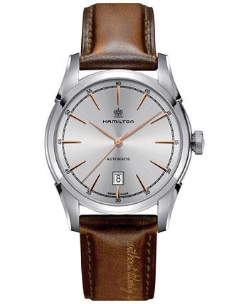 Мужские швейцарские автоматические часы Spirit of Liberty с коричневым кожаным ремешком из теленка 42 мм H42415551 Hamilton