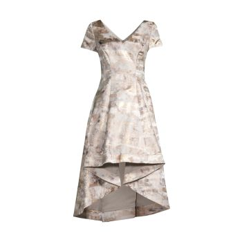 Жаккардовое платье с высокой посадкой SHANI