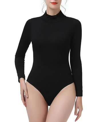 Women's Turtleneck Long Sleeve Bodysuit Top Kimi + kai