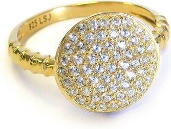 Позолоченное кольцо из стерлингового серебра с кристаллами паве Liza Schwartz