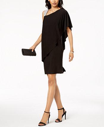 Платье на одно плечо, украшенное стразами R & M Richards