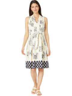 Modern Paris Printed Cotton Pleated Halter Tie Front Dress London Times
