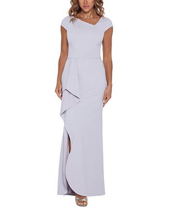 Платье с асимметричным вырезом и оборками Betsy & Adam