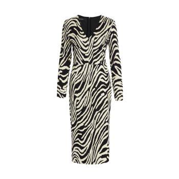 Жаккардовое платье миди с принтом зебры и V-образным вырезом ESCADA