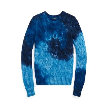 Хлопковый вязаный свитер с принтом тай-дай Ralph Lauren