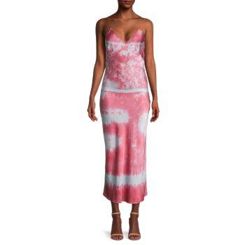 Шелковое платье-комбинация с вышивкой тай-дай DANNIJO