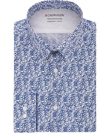 Мужская классическая рубашка сверхтонкого кроя с регулируемой температурой и геометрическим принтом Calvin Klein
